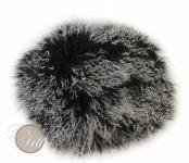 Stuhlauflage aus Tibetlammfell rund ungepolstert Ø 38 cm Schwarz mit hellen Spitzen Ø 38 cm | Schwarz mit hellen Spitzen