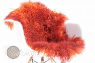 Tibet Lammfell zweifarbig Orange mit Bordeaux Spitzen gefärbt 85 x 45 cm 85 x 45 cm
