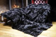 Toscana Lammfell Decke 200x155 cm schwarz-braun abgefüttert