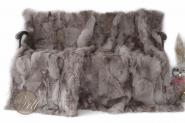 Toscana Lammfelldecke 200x155 cm Grau Patchwork abgefüttert