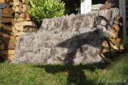 Toscana Lammfelldecke Beige 200 x 155 cm Patchwork Rückseite Leder Schaffelldecke