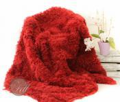 Toscana Lammfelldecke gelockt Rot echte Lammfell Decke gefaerbt