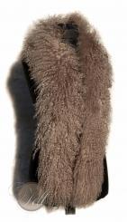 Tibetlammfell Tibet Lammfell Stola Boa beige mit hellen Spitzen 150 cm lang