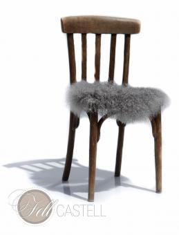 Dekoration Stuhlauflage aus Tibetlammfell ungepolstert Ø 38 cm Stone Grey