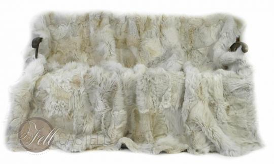 Real Toscana Shearling blanket throw 78x61 inch patchwork beige