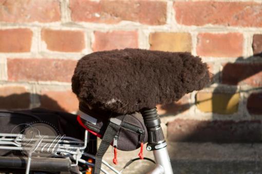 Fahrrad Sattel Bezug Lammfell braun universal