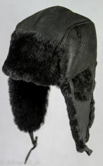 Fliegermütze aus Lammfell schwarzblau