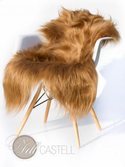 Island Schaffell Braun gefärbt Lammfell langhaarig