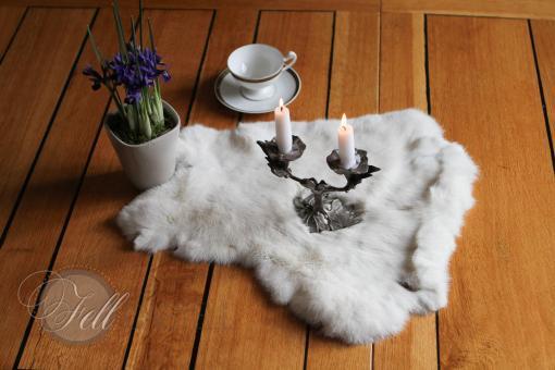 Kaninchenfell Weiss ungefärbt 45x40 cm Kanin Fell