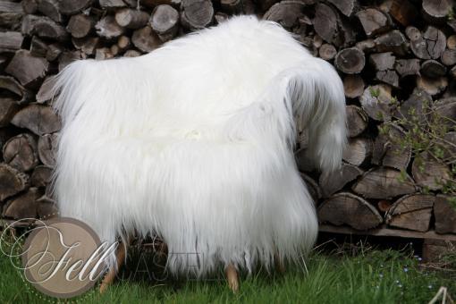 Kaschmir Ziegenfell naturweiß, langes glattes Fell 105 x 80 cm