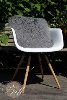 Cushion Tibetan Lamb Lambskin Stone Grey