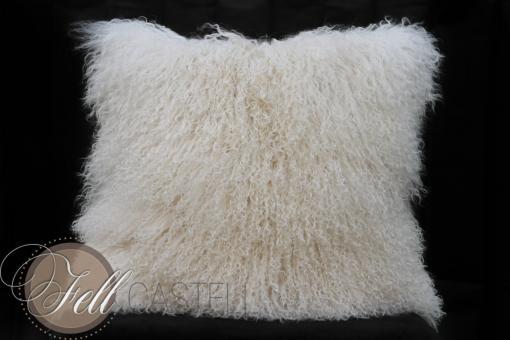 Poduszka ze skóry owcy tybetanskiej Ivory 50x50 cm