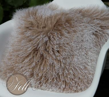 Tibetan Lambskin Pillow Cushion Cover Beige w Snow Tops Mongolian Sheepskin