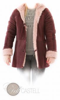 genuine lambskin hooded jacket bordeaux size 42