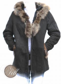 Lammfelljacke Damen Schwarz mit Fuchs- oder Waschbärbesatz Kapuzenjacke