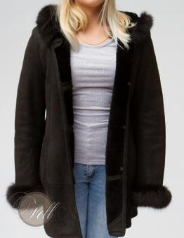 Lambskin hooded Jacket Sheepskin Size L