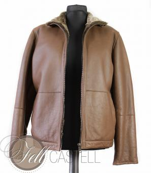 Spanish Merino shearling mens jacket - brown