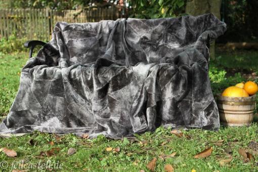 Merino Lammfelldecke 200x155 cm Grau Rückseite Leder Felldecke echtes Lammfell Patchwork