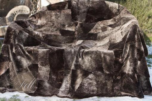 Merino Lammfelldecke 200x160 cm Braun Rückseite Leder Felldecke echtes Lammfell