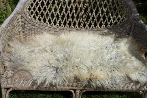 Scandinavisches Schaffell 105x50 cm weiss-grau Lammfell Naturfarben nicht gefärbt