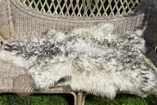 Scandinavisches Schaffell 95x70 cm Weiss mit schwarzen Spitzen Lammfell Naturfarben nicht gefärbt