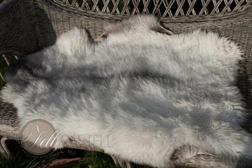 Scandinavisches Schaffell Lammfell 95x65 cm Weiss-Grau