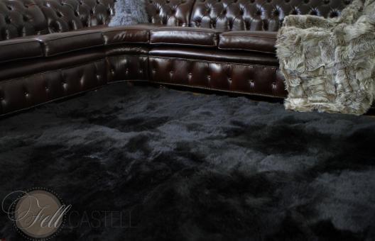Schaffell Teppich schwarz gefärbt 10 Felle 240 x 190 cm