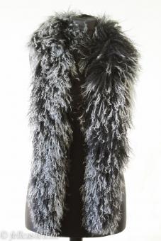 Schal, Stola, Boa aus Tibetlammfell 150 cm lang schwarz mit hellen Spitzen