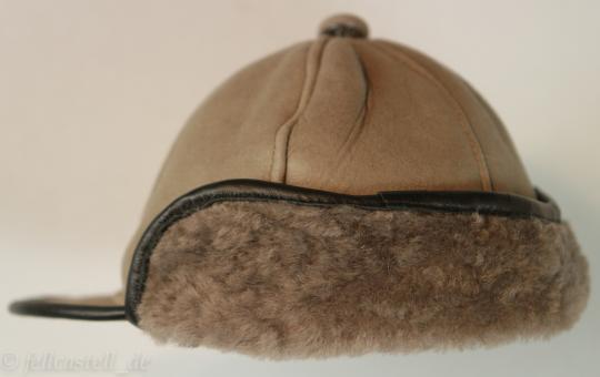 Schirmmütze aus Lammfell braun/braun 2
