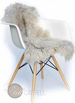 Skandinavisches Schaffell Grau-Weiss 95x50 cm Naturfarben nicht gefärbt