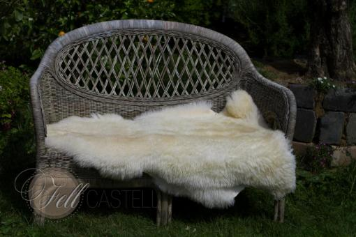 Skandinavisches Schaffell Lammfell 114x80 cm Creme-Weiss Naturfarben nicht gefärbt
