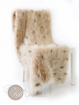 Stola Umhang Schal Decke aus Fuchshaar gewebt hell Beige mit Punkten