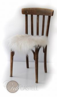 Stuhlauflage aus Island Schaffell Natur-Weiss Ø 38 cm ungepolstert Sitzauflage Lammfell