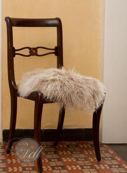 Stuhlauflage aus Tibetlammfell rund ungepolstert Ø 38 cm cozy grey