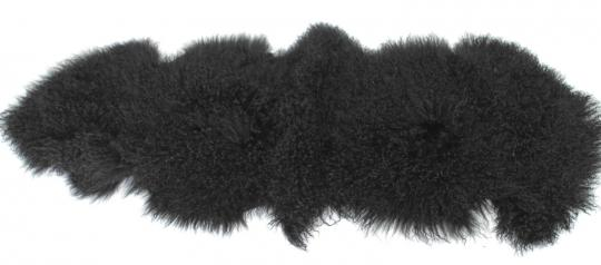 carpet rug from real tibetan lambskin black dyed