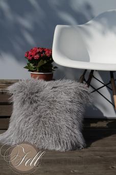 Kissen Hülle 40 x 40 cm Tibet Lammfell Silbergrau Tibetlammfell Grau mit hellen Spitzen Silbergrau   40 x 40 cm