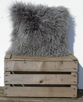 tibet lammfell kissen zottelkissen sofakissen fellkissen schiefergrau 60 x 40 cm 60 x 40 cm. Black Bedroom Furniture Sets. Home Design Ideas
