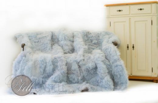 Tibetlamm Lammfelldecke 200x155 cm Hellblau Patchwork abgefüttert