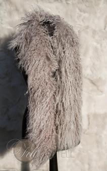 Tibetlamm Stola 150cm cozy grey mit snow tops Boa Schal Tibet Lammfell Schaffell gelockt