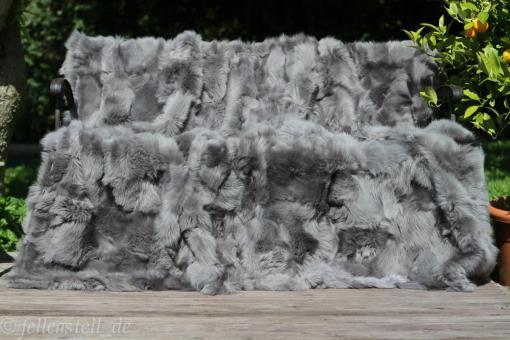 Toscana Lammfell Decke 240x220 cm Stone Grey Rückseite Leder echtes Lammfell
