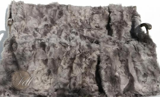Toscana Shearling Blanket 94x86 inch grey patchwork sheepskin throw