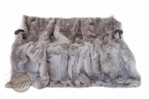 Toscana Lammfelldecke 200 x 155 cm Grau Patchwork Rückseite Leder
