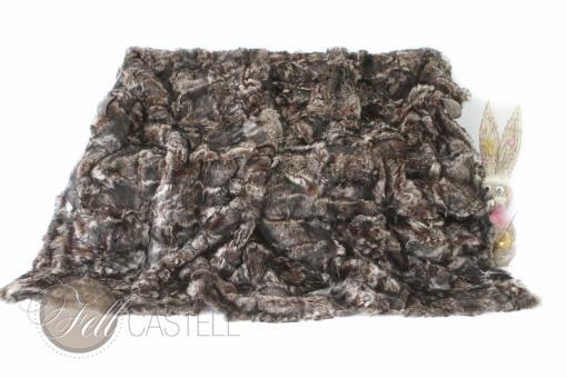 Toscana Lammfelldecke 200x155 cm Brauntöne Patchwork abgefüttert