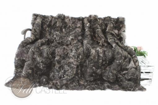 Toscana Lammfelldecke Schwarz-Grau Patchwork abgefüttert