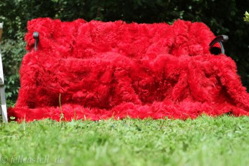 Toscana Lammfelldecke XXL Rot Rückseite Leder 200x200 cm