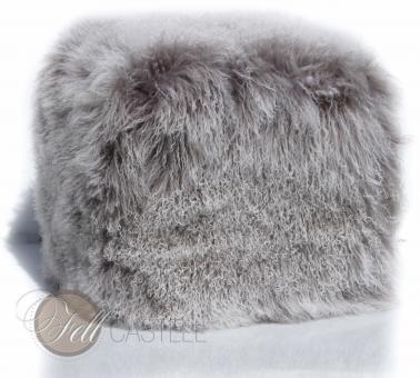 Cube Mongolian Lambskin 18 x 18 x 18 inch Grey with Snow Tops Tibetan Lambskin
