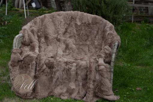 XXL Lammfelldecke Beige-Braun Schaffelldecke Toscana Lammfell Rückseite Leder