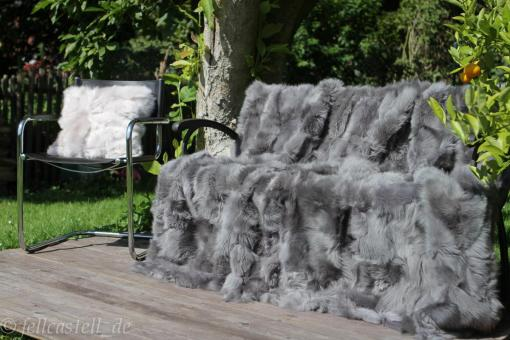 Toscana Shearling Blanket Grey 78x61 inch Patchwork