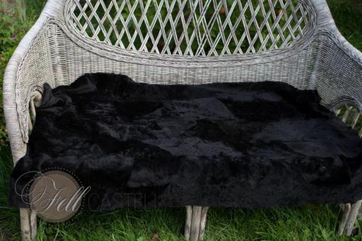 Merino Lammfelldecke schwarz 115x70 cm Rückseite Leder Felldecke echtes Lammfell