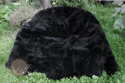 Lammfellteppich schwarz gefärbt echtes Lammfell Schaffell
